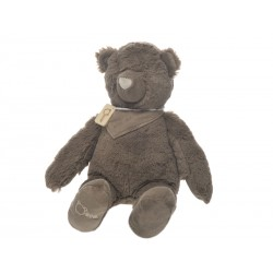 OURS+ECHARPE PELUCHE TAUPE 35CM