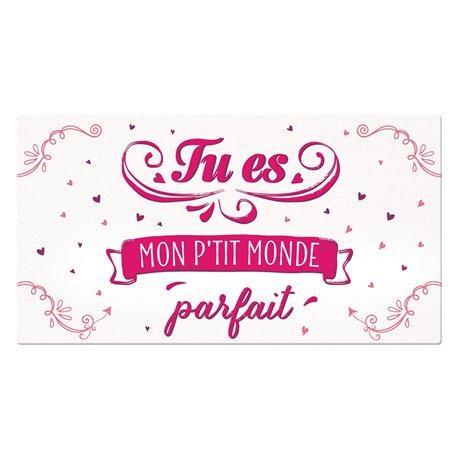 Pancarte rectangulaire VintageArt Tu es mon p'tit monde parfait