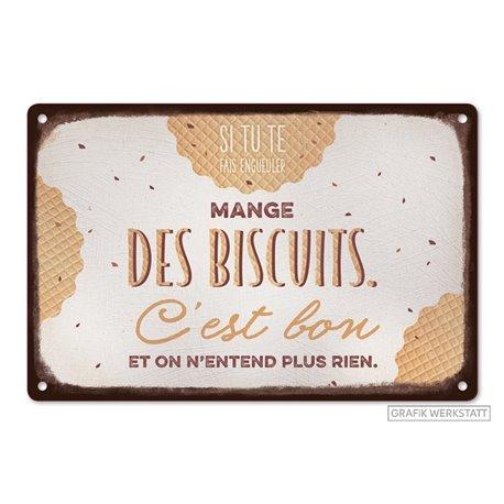 Plaque métal VintageArt Mange des biscuits