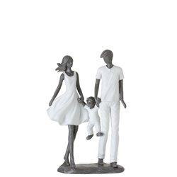 COUPLE AVEC ENFANT RES BLA/GR (17x8x25cm)
