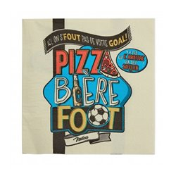 PIZZA BIERE FOOT - Serviettes en papier 3 plis