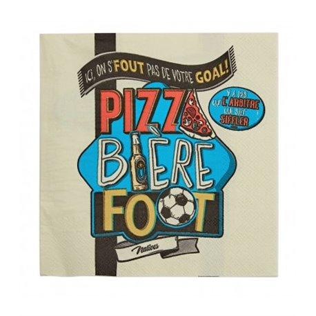 PIZZA BIERE FOOT - Serviettes en papier 3 plis