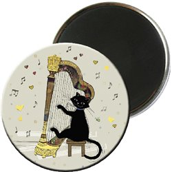 MAGNET ROND CHAT MUSIQUE HARPE