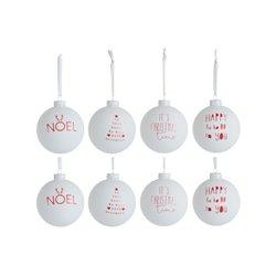 Boule De Noel Textile Mix Verre Blanc/Rouge Small