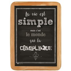 Wood sign La vie est simple - 20 x 30 cm printed MDF