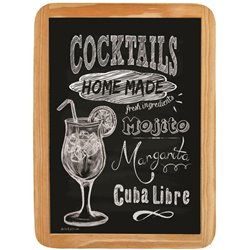 Wood sign Cocktails - 20 x 30 cm printed MDF