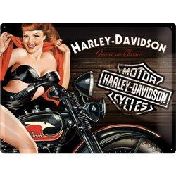 Tin Sign 30x40 H-D Biker Babe Red