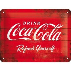 Tin Sign 15x20 Coca-Cola - 1960 red/white - Logo Refreshing