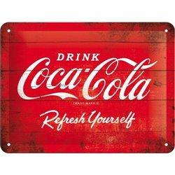 Tin Sign 15x20 Coca-Cola - 1960 red/white - Logo Refreshing