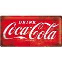 Tin Sign 25x50 Coca-Cola - 1960 red/white - Logo