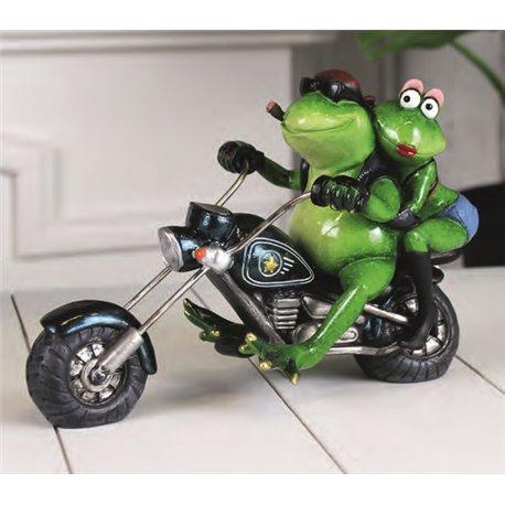 PAIRE GRENOUILLES SUR MOTO