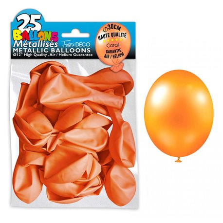 SACHET 25 BALLONS METAL ORANGE CORAIL