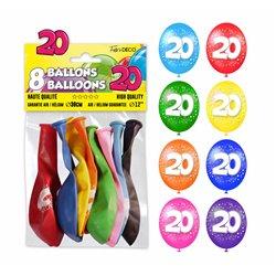 SACHET 8 BALLONS 20 ANS