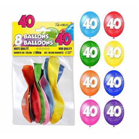 SACHET 8 BALLONS 40 ANS