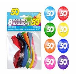 SACHET 8 BALLONS 50 ANS