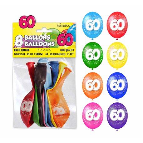 SACHET 8 BALLONS 60 ANS