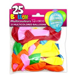 SACHET 25 BALLONS COULEURS ASSORTIES