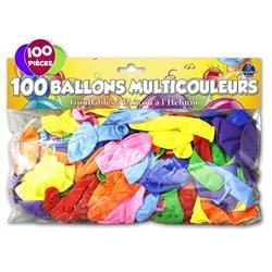 SACHET 100 BALLONS COULEURS ASSORTIES