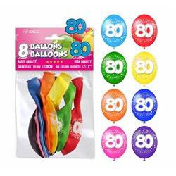 SACHET 8 BALLONS 80 ANS
