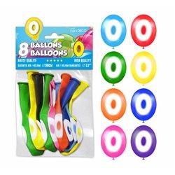 SACHET 8 BALLONS LATEX CHIFFRE 0