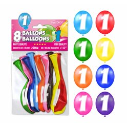 SACHET 8 BALLONS LATEX CHIFFRE 1