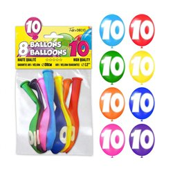 SACHET 8 BALLONS LATEX CHIFFRE 10