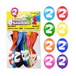 SACHET 8 BALLONS LATEX CHIFFRE 2