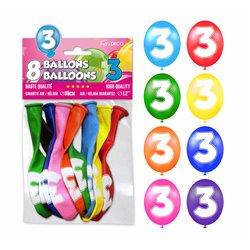 SACHET 8 BALLONS LATEX CHIFFRE 3