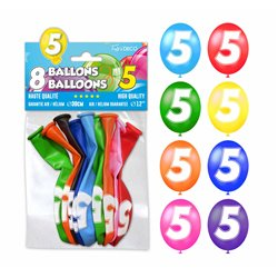 SACHET 8 BALLONS LATEX CHIFFRE 5