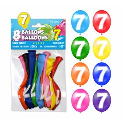 SACHET 8 BALLONS LATEX CHIFFRE 7
