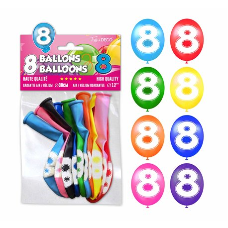 SACHET 8 BALLONS LATEX CHIFFRE 8
