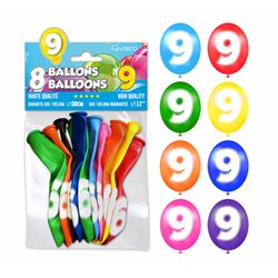 SACHET 8 BALLONS LATEX CHIFFRE 9