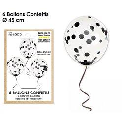 BALLONS CONFETTIS X6 NOIRES