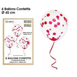 BALLONS CONFETTIS X6 ROUGES