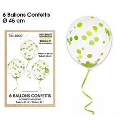 BALLONS CONFETTIS X6 VERTS