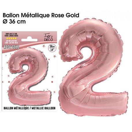 BALLON METALLIQUE ROSE GOLD CHIFFRE 2