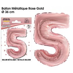 BALLON METALLIQUE ROSE GOLD CHIFFRE 5