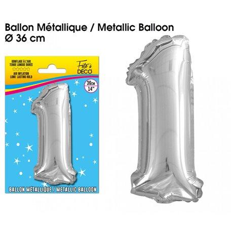 BALLON METALLIQUE ARGENT CHIFFRE 1