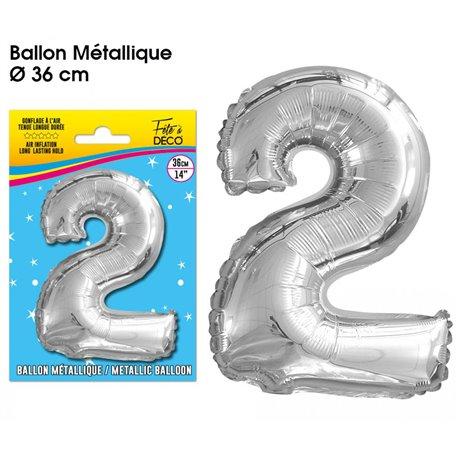 BALLON METALLIQUE ARGENT CHIFFRE 2