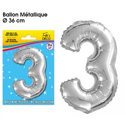 BALLON METALLIQUE ARGENT CHIFFRE 3