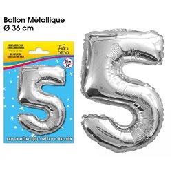 BALLON METALLIQUE ARGENT CHIFFRE 5