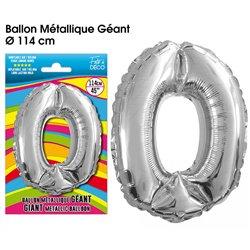 BALLON GEANT METALLIQUE ARGENT CHIFFRE 0