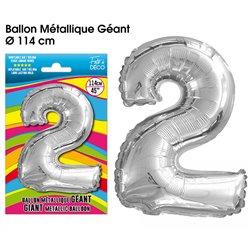BALLON GEANT METALLIQUE ARGENT CHIFFRE 2