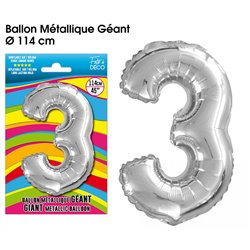 BALLON GEANT METALLIQUE ARGENT CHIFFRE 3