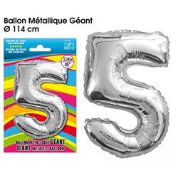 BALLON GEANT METALLIQUE ARGENT CHIFFRE 5