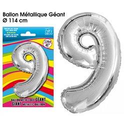 BALLON GEANT METALLIQUE ARGENT CHIFFRE 9