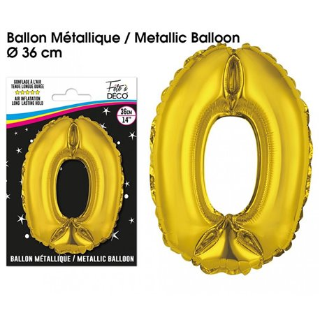 BALLON METALLIQUE OR CHIFFRE 0