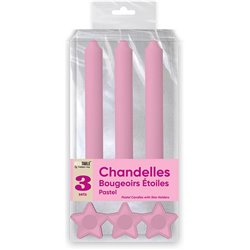 BOUGIES CHANDELLES X 3 SUPPORTS ETOILE ROSE