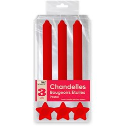 BOUGIES CHANDELLES X 3 SUPPORTS ETOILE ROUGE