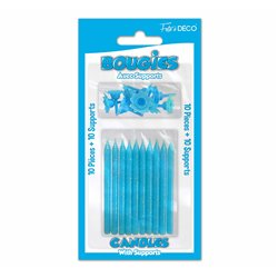 10 BOUGIES SUPPORTS PAILLETEES BLEU